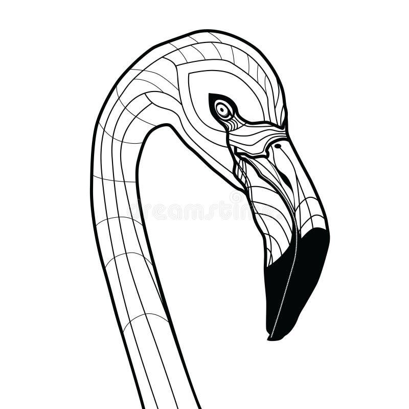 Иллюстрация вектора татуировки фламинго птицы головная изолированная на белом дизайне эскиза предпосылки для футболок иллюстрация вектора