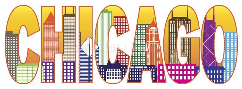Иллюстрация вектора текста цвета горизонта города Чикаго иллюстрация вектора
