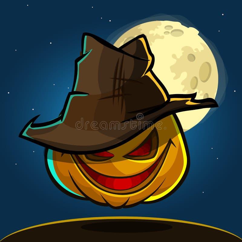Иллюстрация вектора тыквы хеллоуина шаржа с шляпой на темной предпосылке ночи с большим полнолунием позади иллюстрация вектора