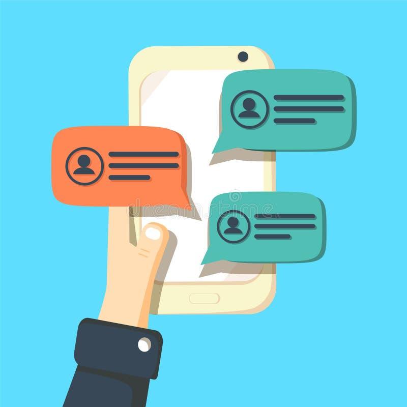 Иллюстрация вектора уведомлений сообщения болтовни мобильного телефона иллюстрация вектора