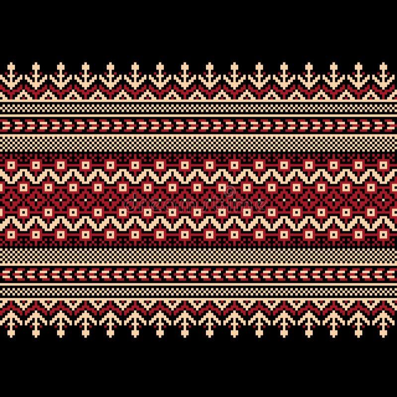 Иллюстрация вектора украинского фольклорного безшовного Пэт иллюстрация вектора