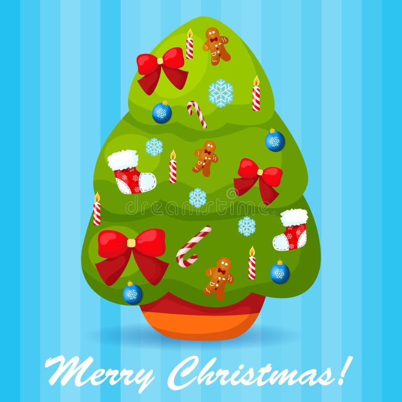 Иллюстрация вектора украшенной рождественской елки иллюстрация штока