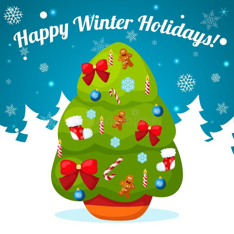 Иллюстрация вектора украшенной рождественской елки бесплатная иллюстрация
