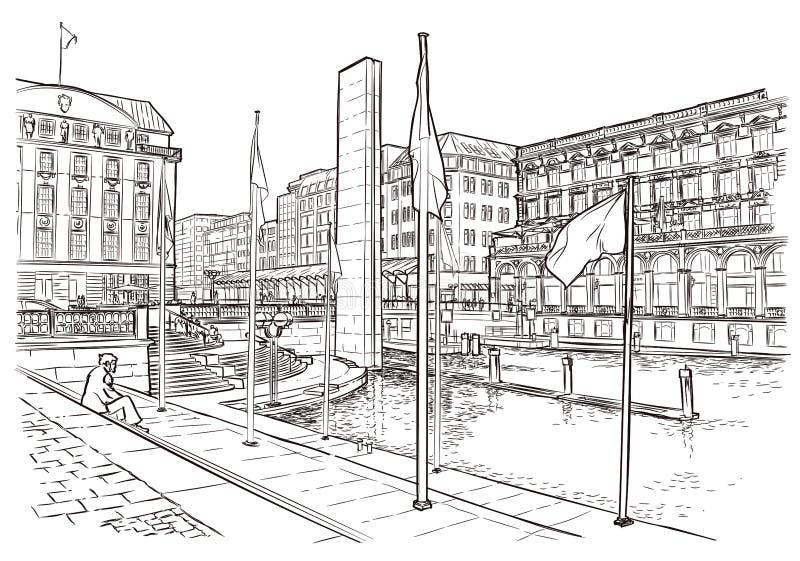 Иллюстрация вектора улицы в Стокгольме иллюстрация штока