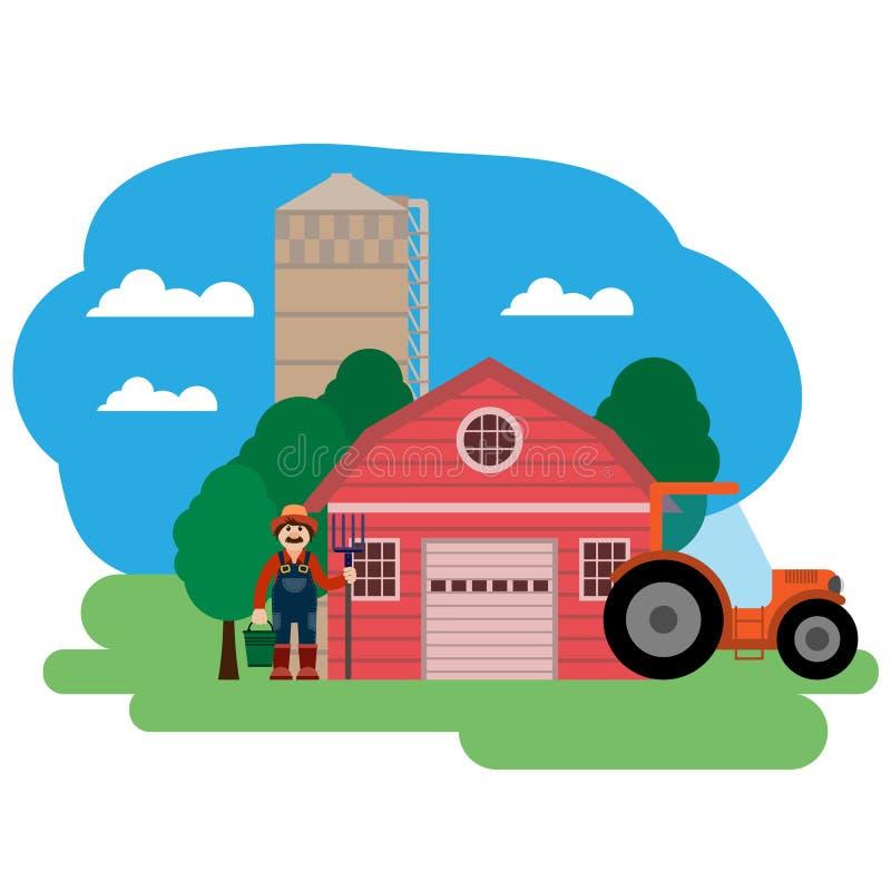 Иллюстрация вектора фермы Хуторянин и трактор бесплатная иллюстрация