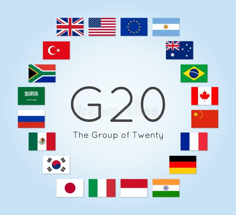 Иллюстрация вектора флагов стран G-20 Группа в составе 20 иллюстрация вектора