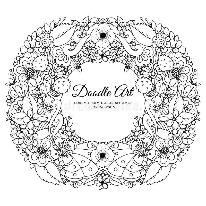 Иллюстрация вектора флористического путать Дзэн рамки Dudlart Стресс книжка-раскраски анти- для взрослых Черная белизна бесплатная иллюстрация