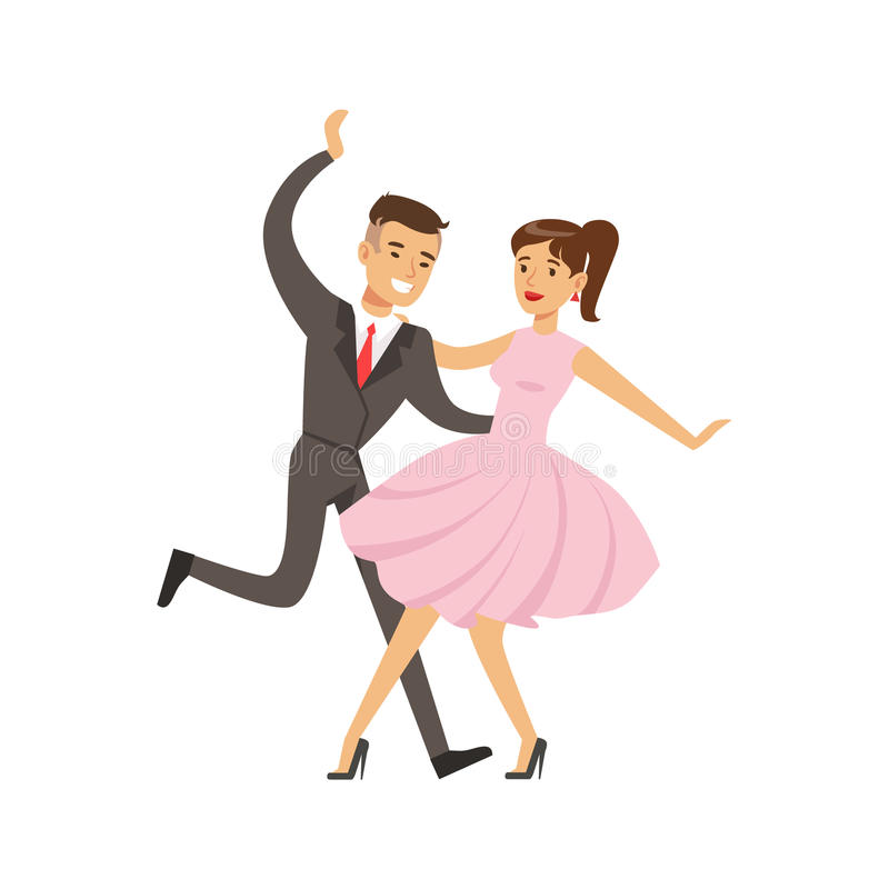Иллюстрация вектора характера молодого танца woogie буг танцев пар красочная иллюстрация вектора