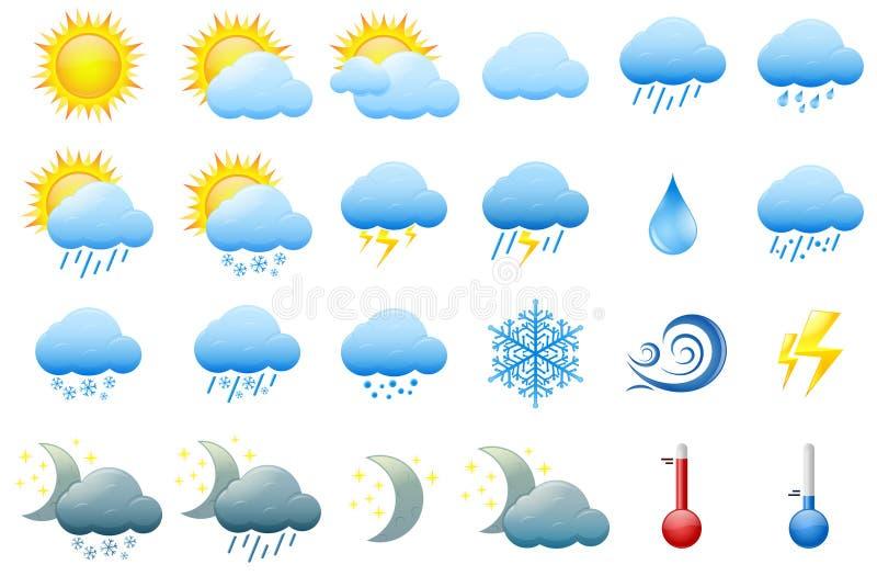 Иконы погоды цвета бесплатная иллюстрация