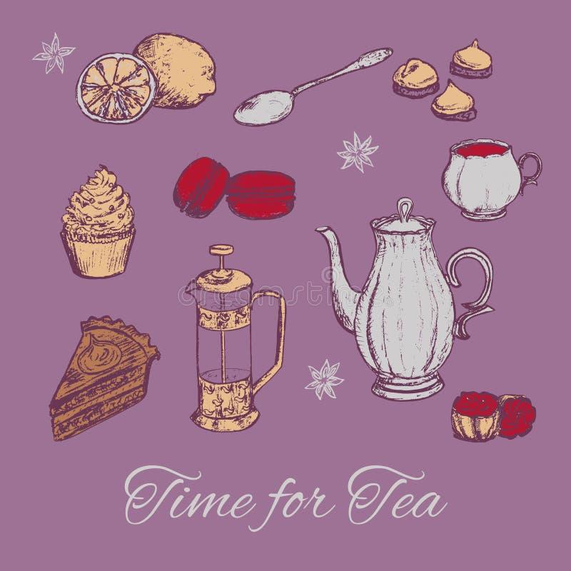 Иллюстрация вектора чаепития притяжки руки Предпосылка чая с тортами и некоторыми помадками иллюстрация вектора