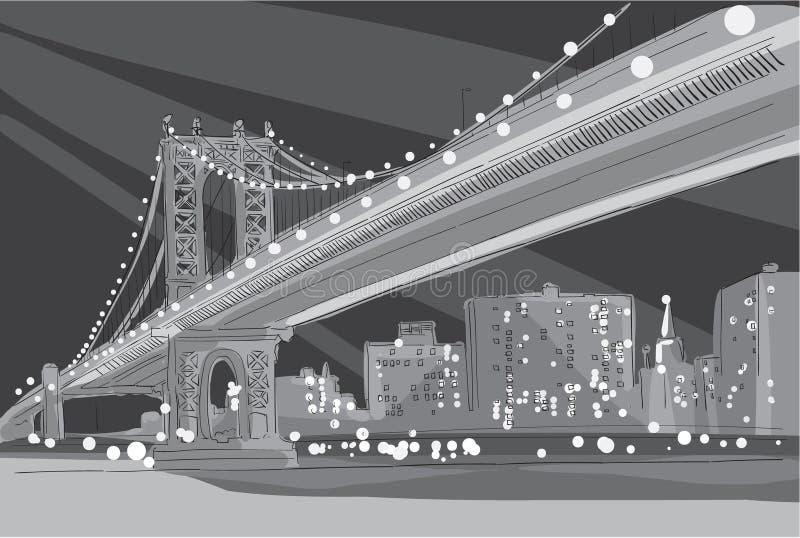 Иллюстрация вектора черно-белая Бруклинского моста в Нью-Йорке иллюстрация вектора