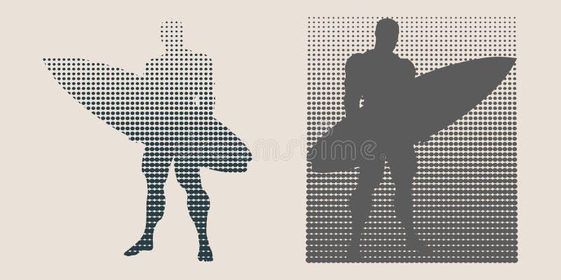 Иллюстрация вектора человека представляя с surfboard иллюстрация штока