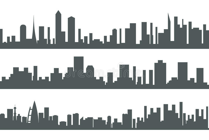 Иллюстрация вектора шаблона значка концепции городского силуэта недвижимости города ландшафта безшовного установленная бесплатная иллюстрация