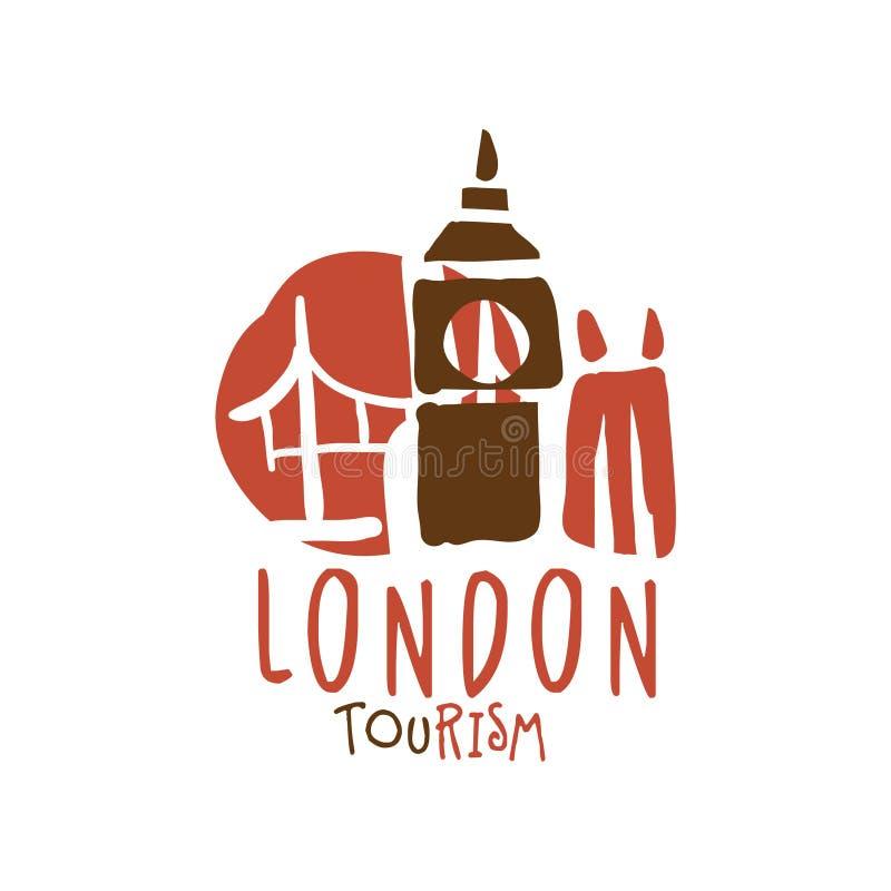 Иллюстрация вектора шаблона логотипа туризма Лондона нарисованная рукой бесплатная иллюстрация