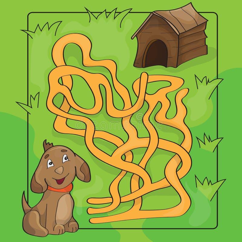 Иллюстрация вектора шаржа лабиринта образования или игры лабиринта для детей бесплатная иллюстрация