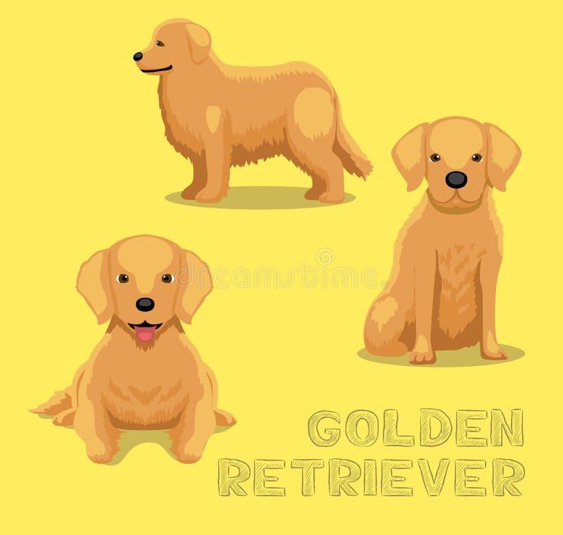 Иллюстрация вектора шаржа золотого Retriever собаки иллюстрация вектора