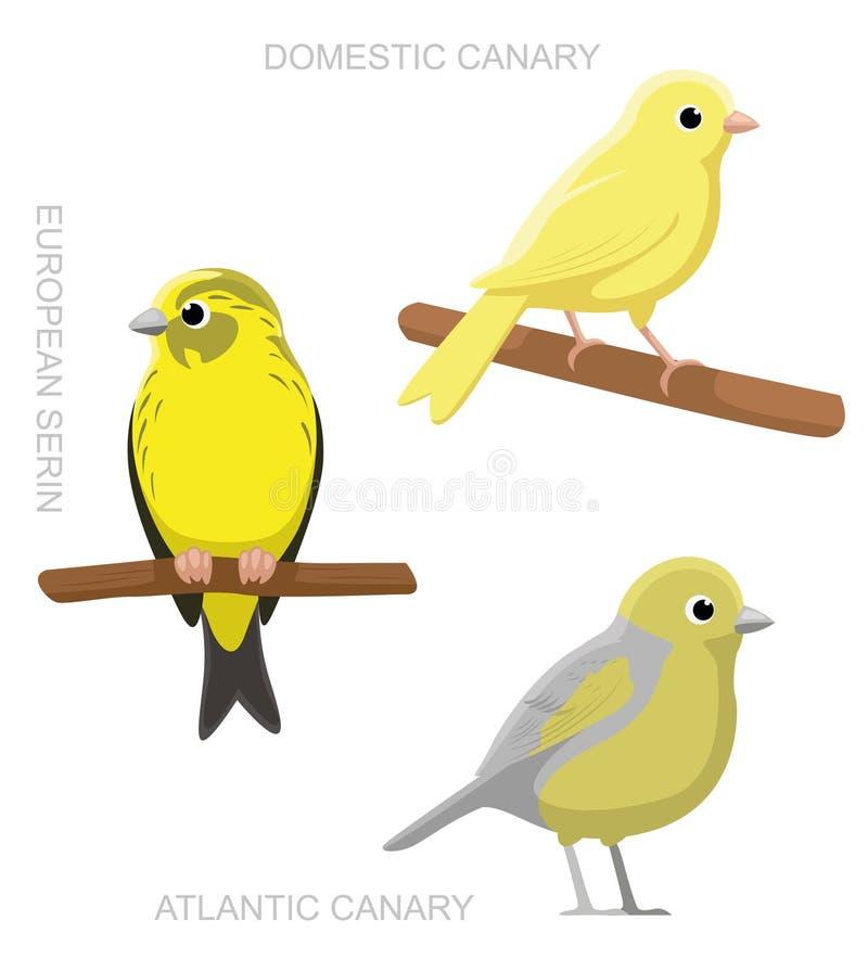 Иллюстрация вектора шаржа канерейки птицы установленная иллюстрация вектора