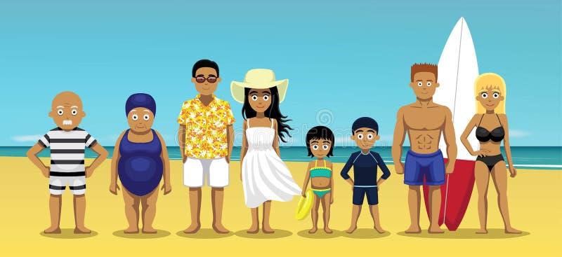 Иллюстрация вектора шаржа перемещения лета семьи стоящая иллюстрация вектора