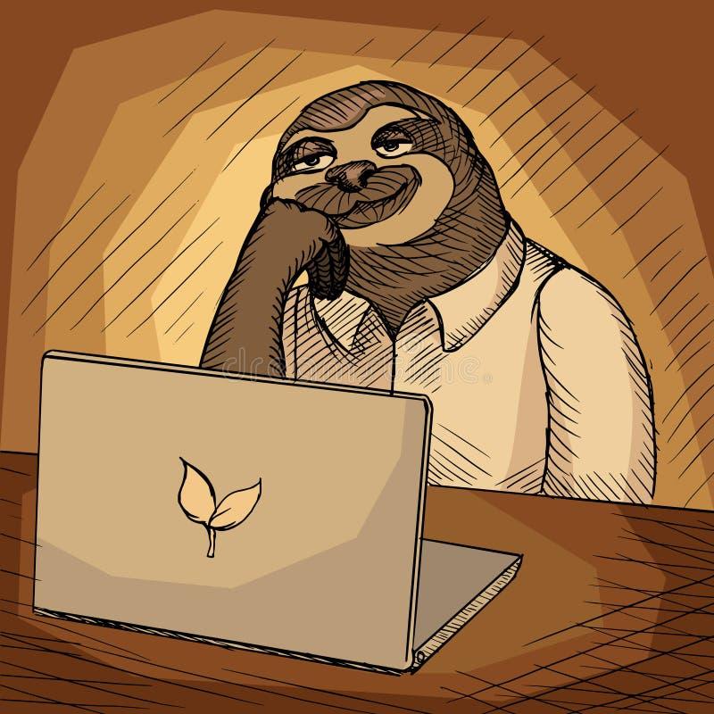 Иллюстрация вектора шаржа работника офиса лени бесплатная иллюстрация