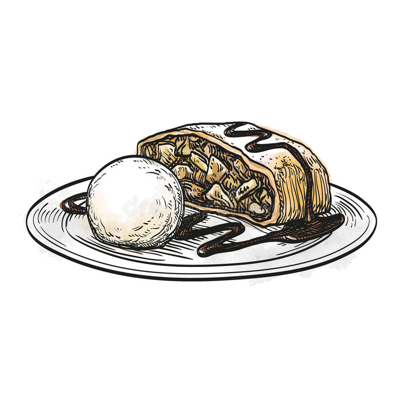 Иллюстрация вектора штрудели яблока иллюстрация штока