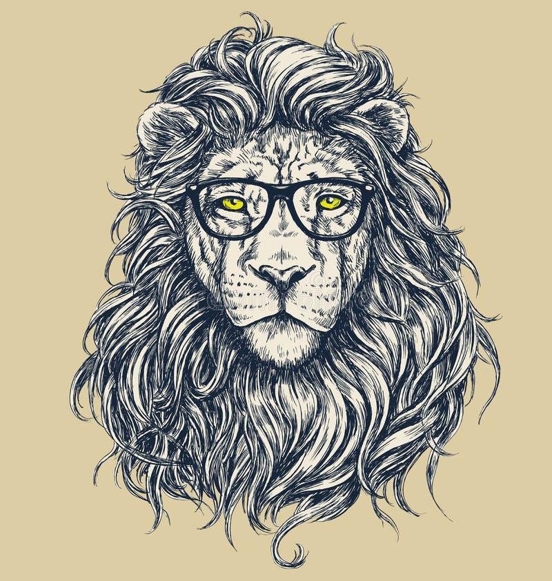 Иллюстрация вектора льва битника Отделенные стекла иллюстрация штока