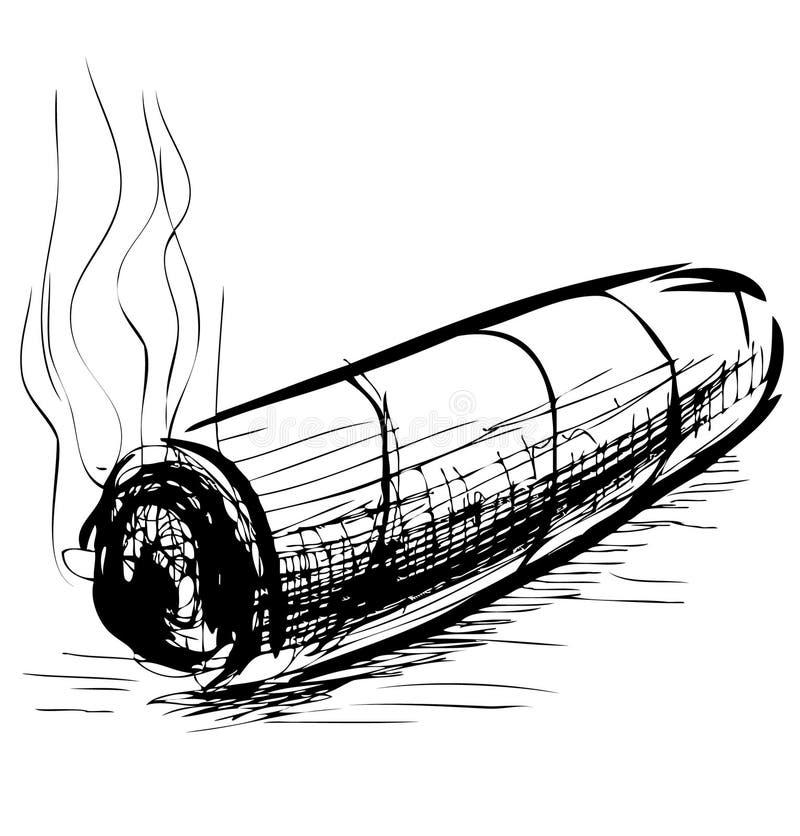 Иллюстрация вектора эскиза сигары освещения бесплатная иллюстрация