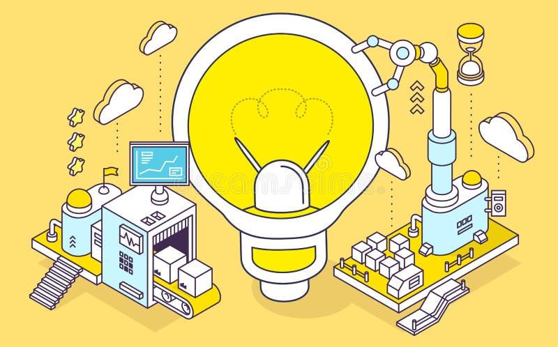 Иллюстрация вектора электрической лампочки и трехмерных mechanis бесплатная иллюстрация