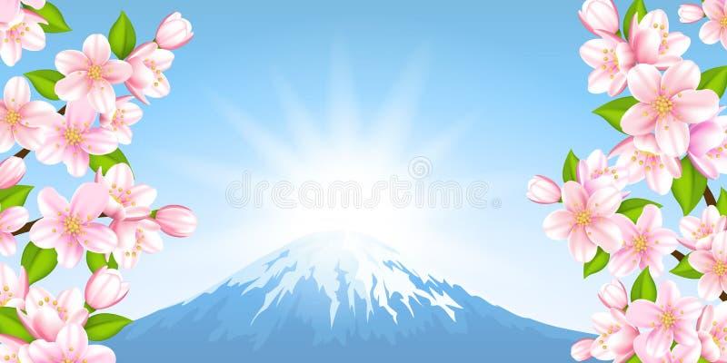 Японский ландшафт иллюстрация вектора