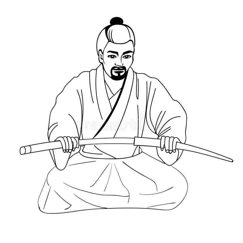 Иллюстрация вектора японского самурая бесплатная иллюстрация