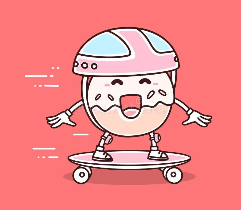 Иллюстрация вектора яркого донута улыбки цвета в катании шлема иллюстрация штока