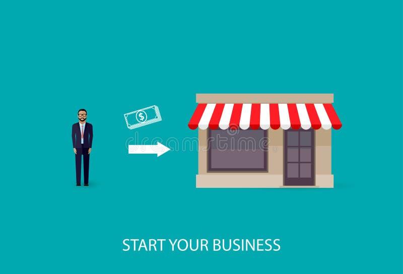 Иллюстрация вектора infographic концепции дела бизнесмен начинает его собственное дело Startup концепция бесплатная иллюстрация