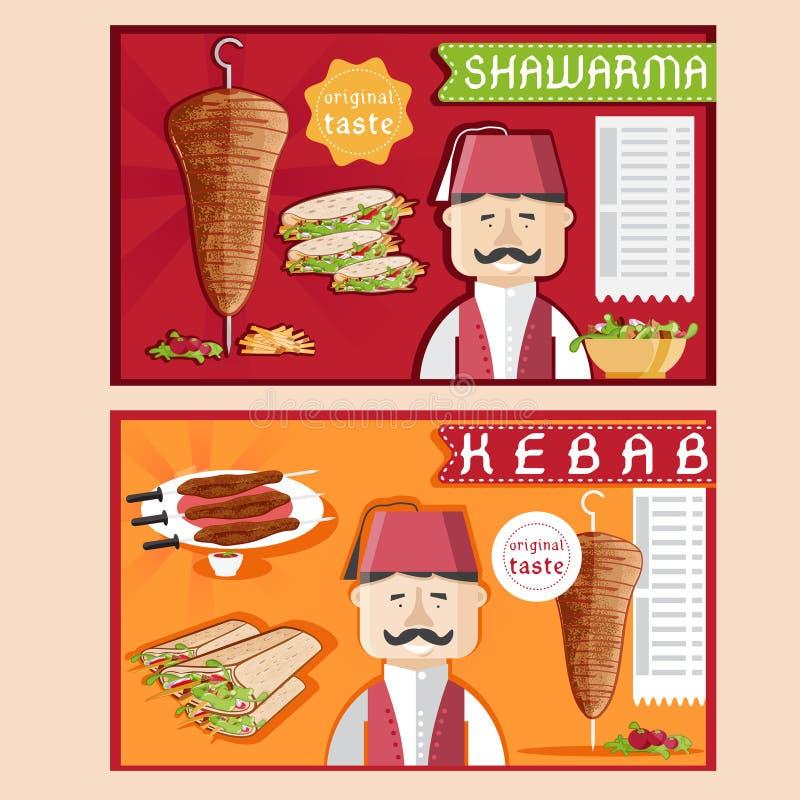 Иллюстрация вектора Kebab с шеф-поваром, shawarma и салатом бесплатная иллюстрация