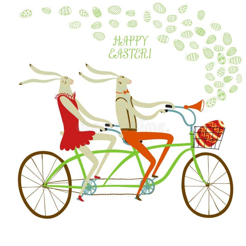 Иллюстрация велосипедистов кроликов пасхи иллюстрация вектора