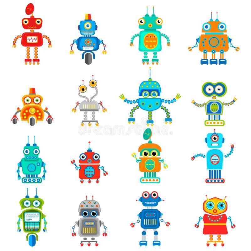 Иллюстрация винтажных милых роботов иллюстрация вектора
