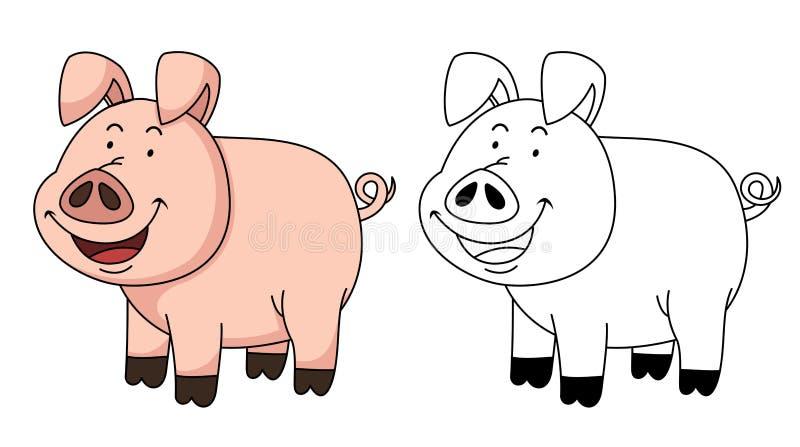 Иллюстрация воспитательной книг-свиньи расцветки иллюстрация вектора