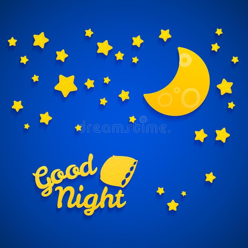 Иллюстрация времени кровати спокойной ночи для детей бесплатная иллюстрация