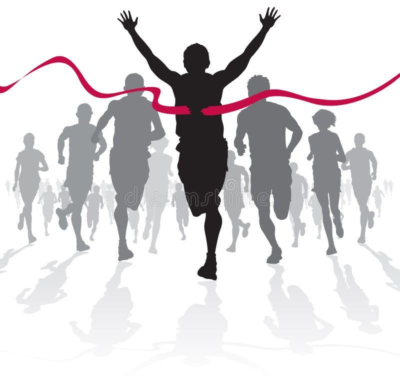 Выигрывая спортсмен пересекает финишную черту.
