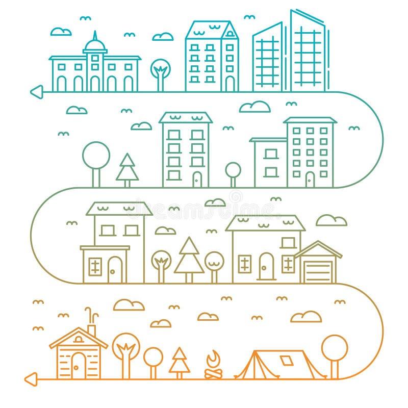 Иллюстрация города вектора в линейных зданиях стиля иллюстрация штока
