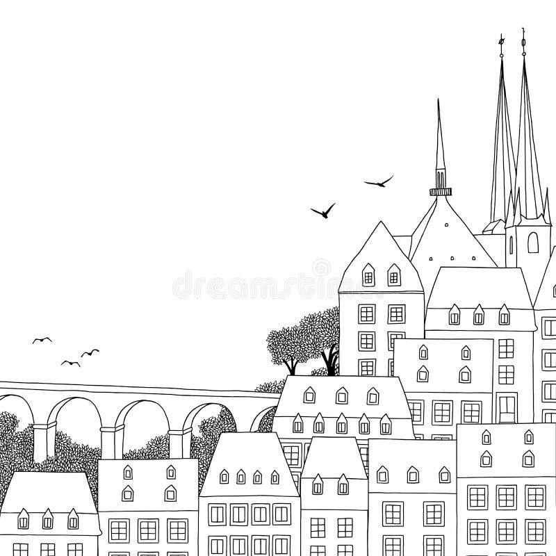 Иллюстрация города Люксембурга иллюстрация штока