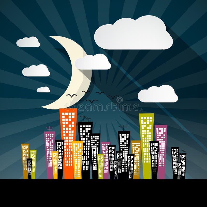 Иллюстрация города ночи вектора иллюстрация штока