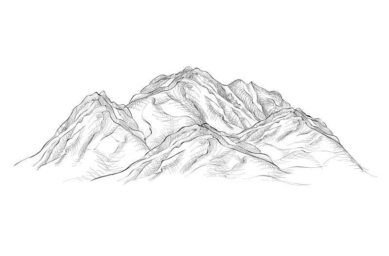 Иллюстрация гор Эскиз гравировки нарисованный рукой иллюстрация вектора