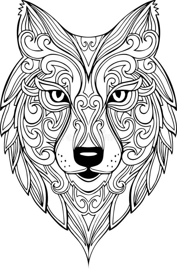 Иллюстрация головы волка doodle вектора нарисованная рукой иллюстрация штока
