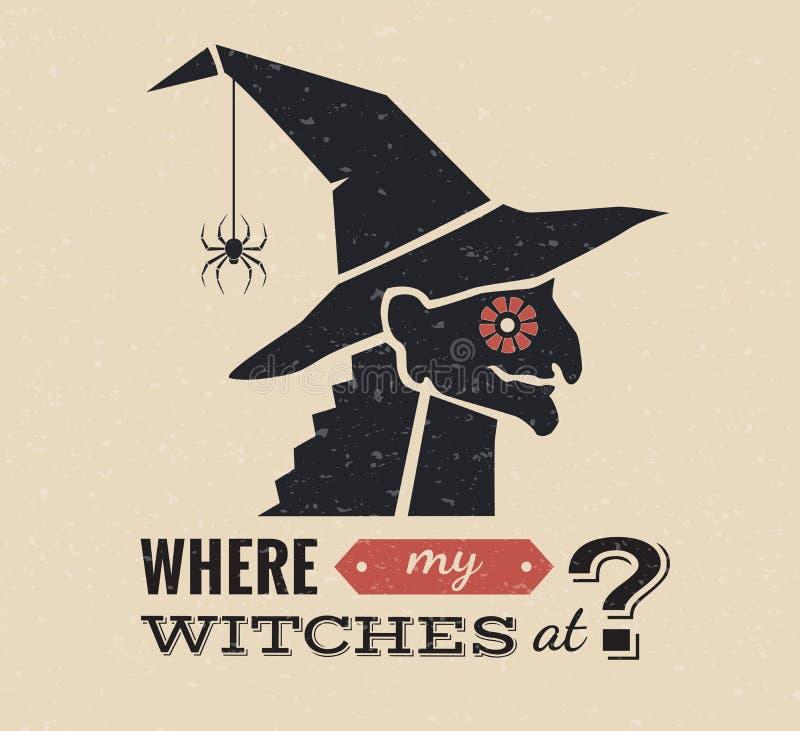 Иллюстрация графика ведьмы хеллоуина стоковые фотографии rf