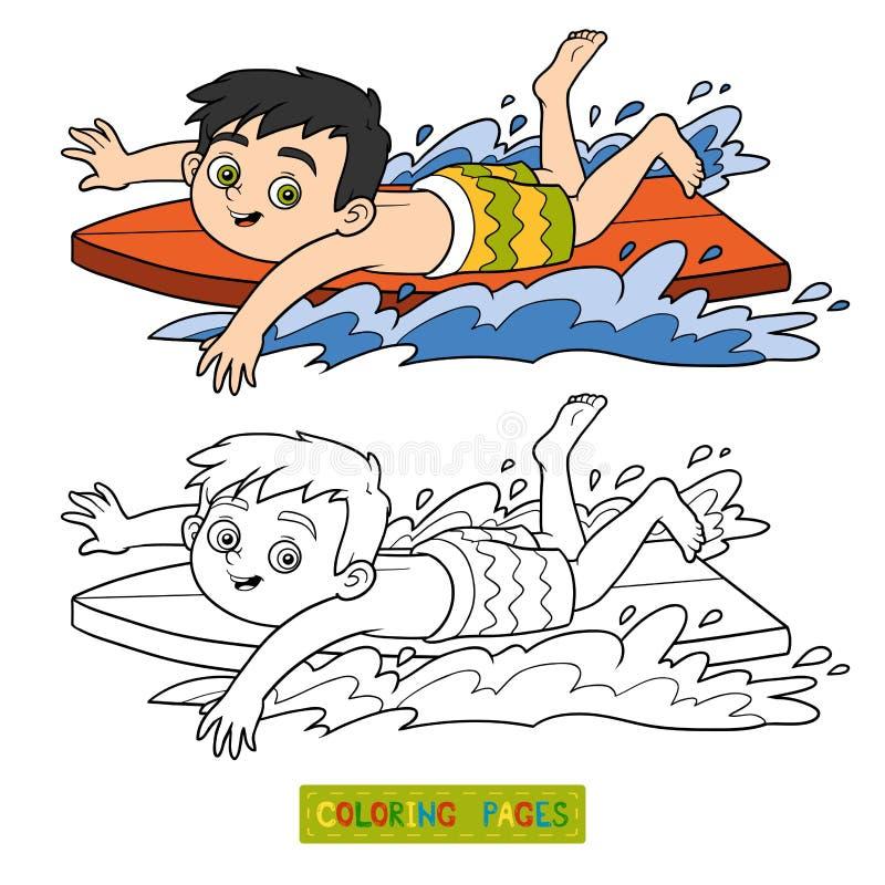 иллюстрация графика расцветки книги цветастая Мальчик ехать прибой иллюстрация штока