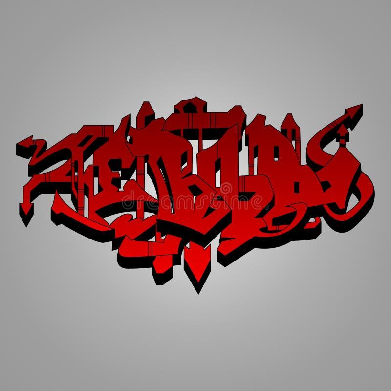 Иллюстрация граффити - красная и черная одичалая стиля иллюстрация штока