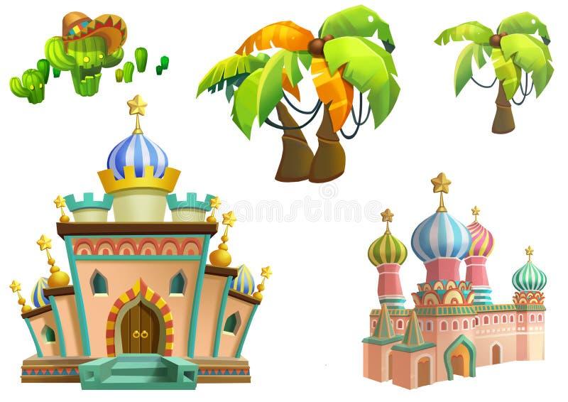 Иллюстрация: Дизайн элементов темы пустыни установил 3 Имущества игры Дом, дерево, кактус, каменная статуя иллюстрация вектора