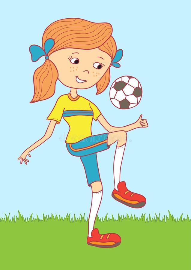 Иллюстрация девочка-подростка используя футбольный мяч иллюстрация штока
