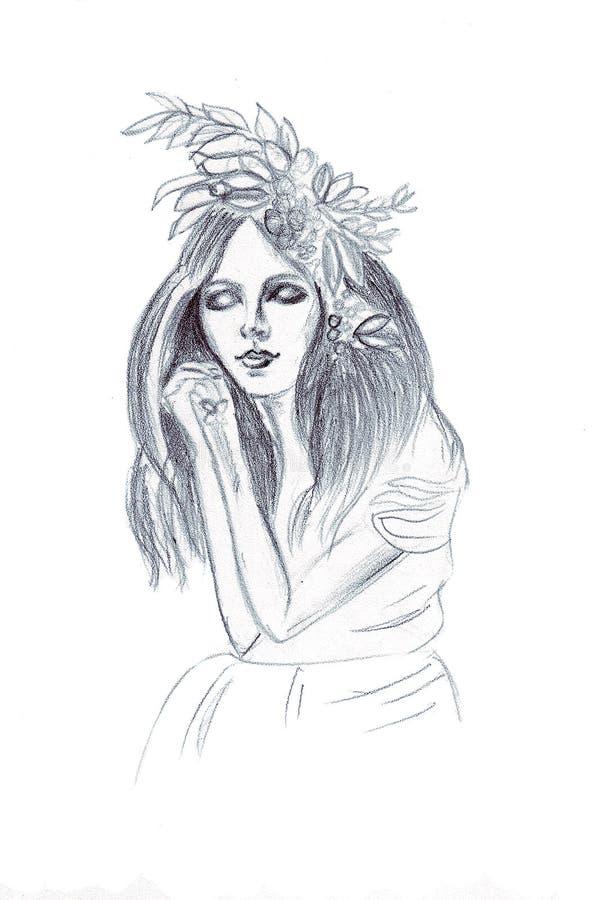 Иллюстрация девушки в чертеже карандаша с волосами и закрытыми глазами иллюстрация штока