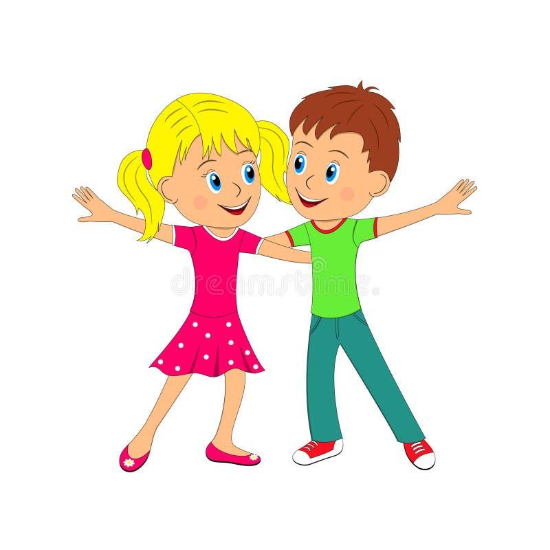 иллюстрация девушки танцы мальчика шуточная стилизованная иллюстрация вектора
