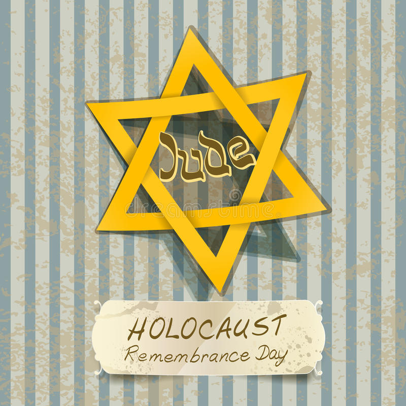 Иллюстрация день памяти погибших в первую и вторую мировые войны холокоста с звездой Дэвида иллюстрация вектора